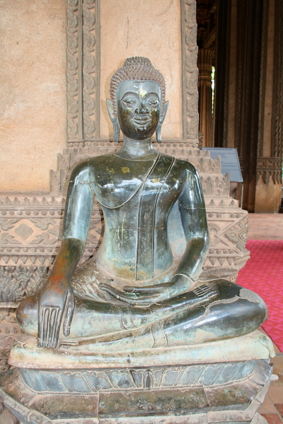 Bronze Buddha statue at Ho Phra Keo in Vientiane, Laos