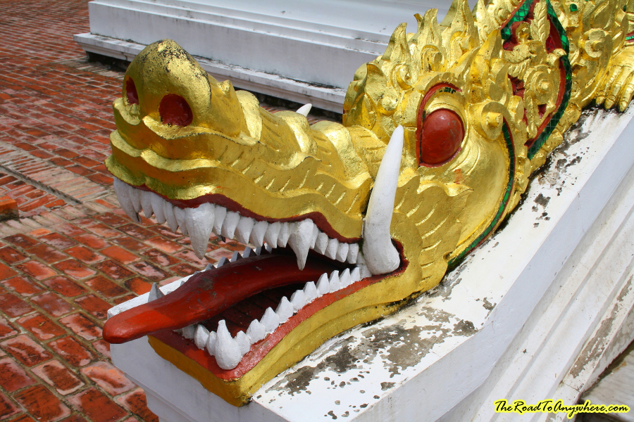 Naga head at Haw Pha Bang in Luang Prabang, Laos