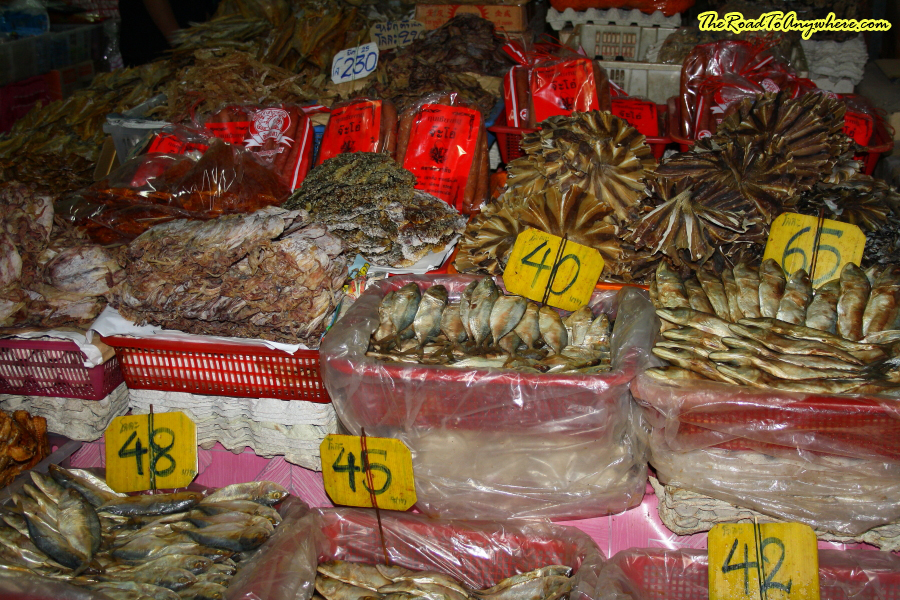 dried fish at market in Chiang Rai, Thailand