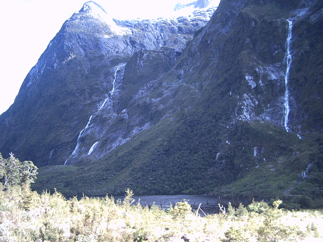 Waterfalls and cliffs on the Milford Track, New Zealand