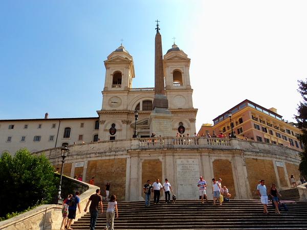 Spanish steps church and obelisk