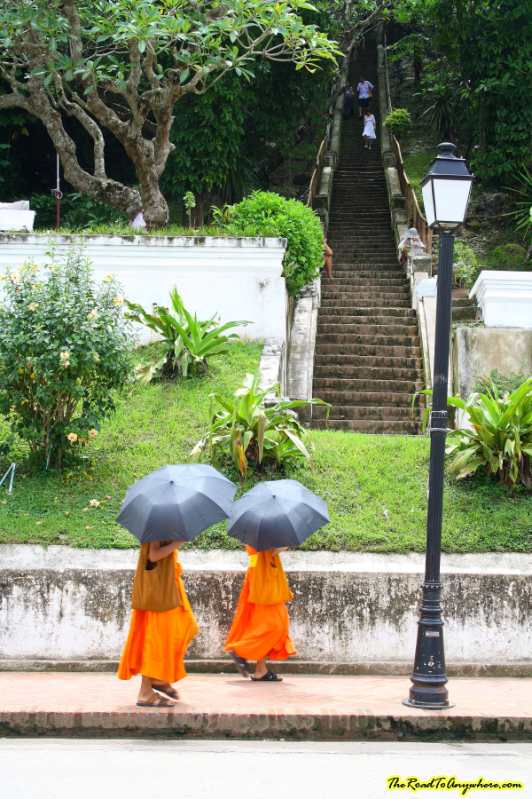 Monks near Mount Phousi in Luang Prabang, Laos