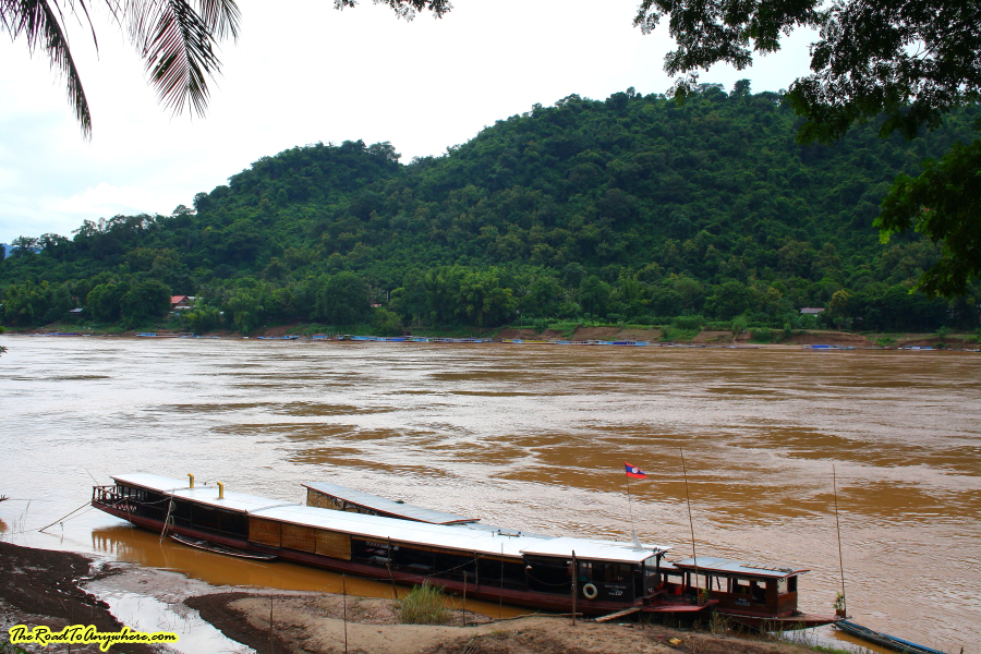 Slow boats on the Mekong River in Luang Prabang, Laos