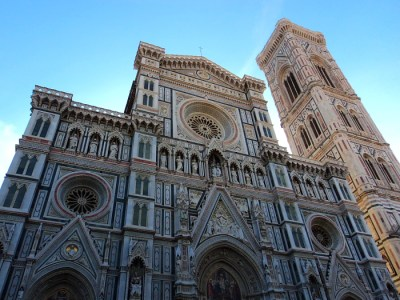 Front Facade of the Florence Cathedral in Florence, Italy