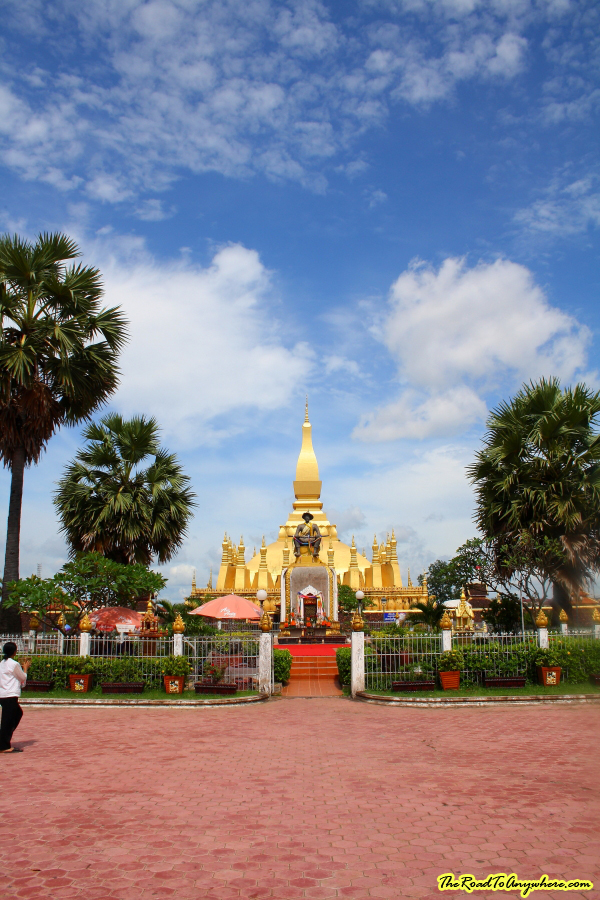 Pha That Luang from a distance in Vientiane, Laos