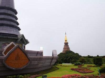 View of King and Queen's Pagodas at Phra Mahathat Naphamethanidon, Thailand