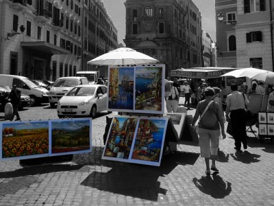 Artwork for sale in Piazza Trinità dei Monti at the top of the Spanish Steps in Rome, Italy