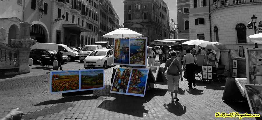 Artwork for sale in Piazza Trinità dei Monti at the top of the Spanish Steps in Rome, Italy