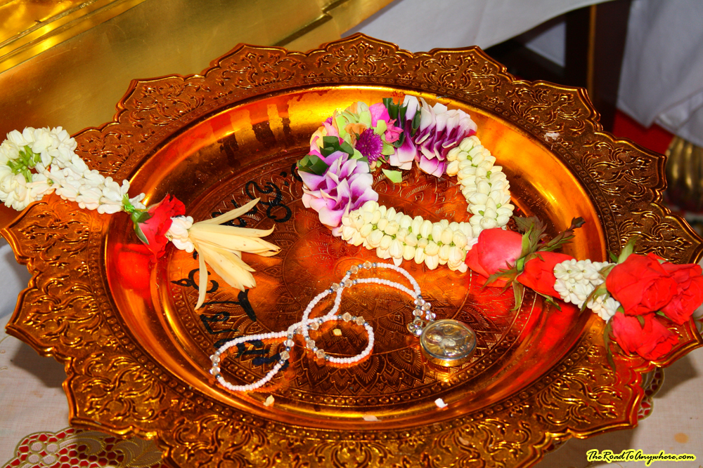 Offering Plate at Wat Nopanat in Bangkok, Thailand