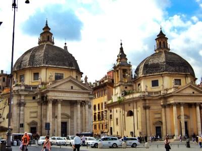 Twin churches in Piazza del Popolo in Rome, italy
