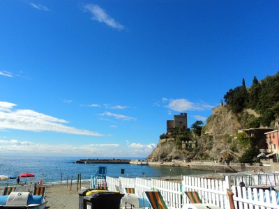 Monterosso, Italy Beach view and Torre Aurora