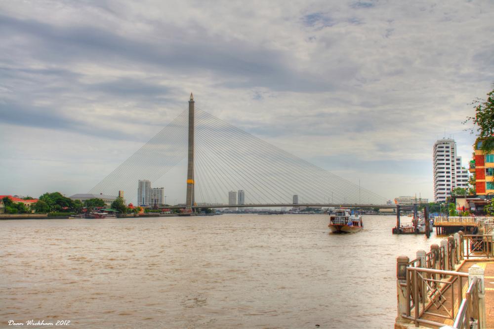 Rama VIII Bridge on the Chao Phraya River in Bangkok, Thailand