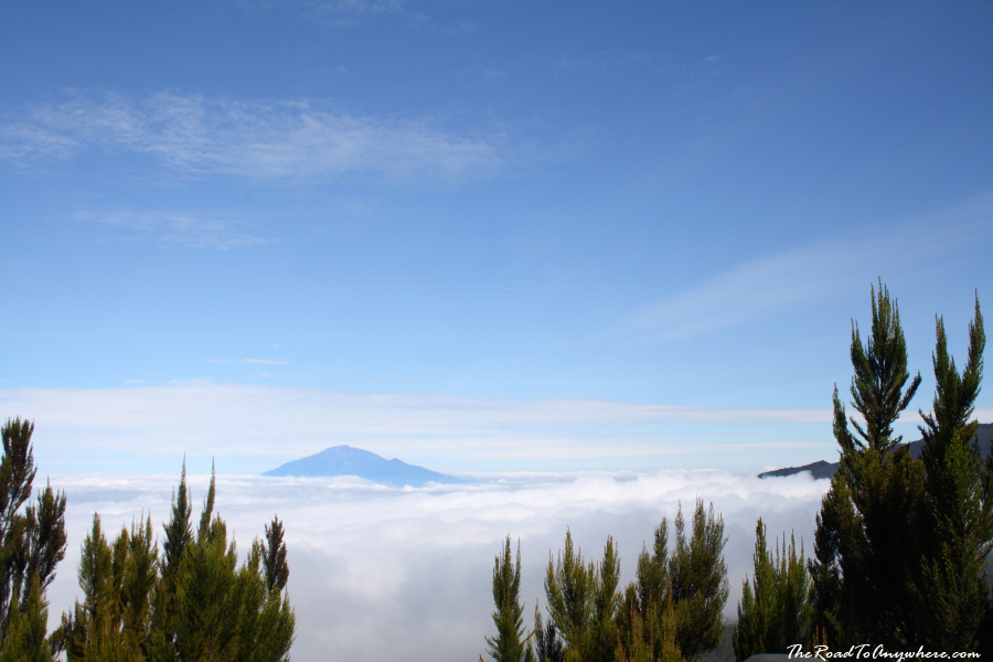 Mount Meru above the clouds on Mount Kilimanjaro, Tanzania