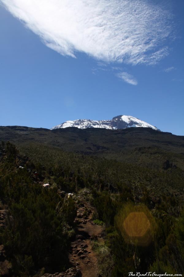 View of Kibo Peak on the Machame Route on Mount Kilimanjaro, Tanzania