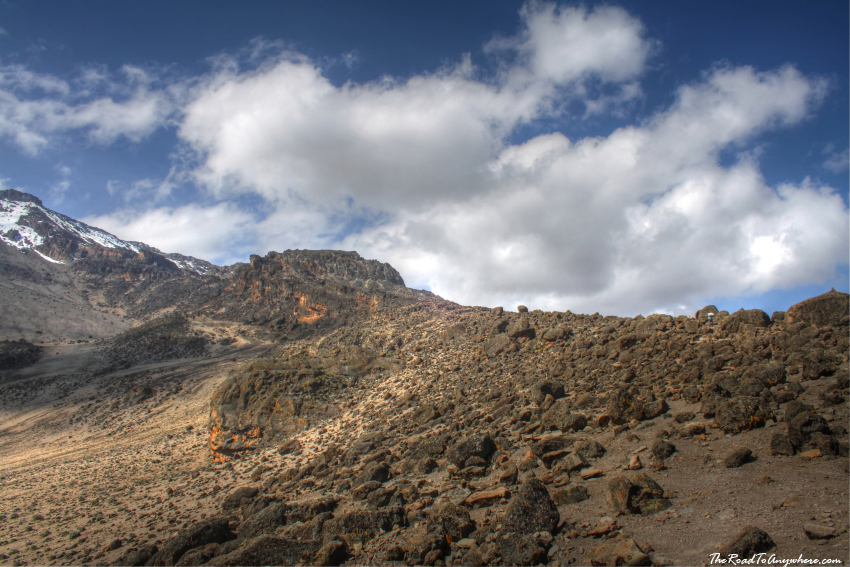 Alpine dessert rocky landscape on Mount Kilimanjaro, Tanzania