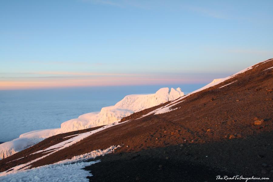 A glacier on the summit of Mount Kilimanjaro, Tanzania