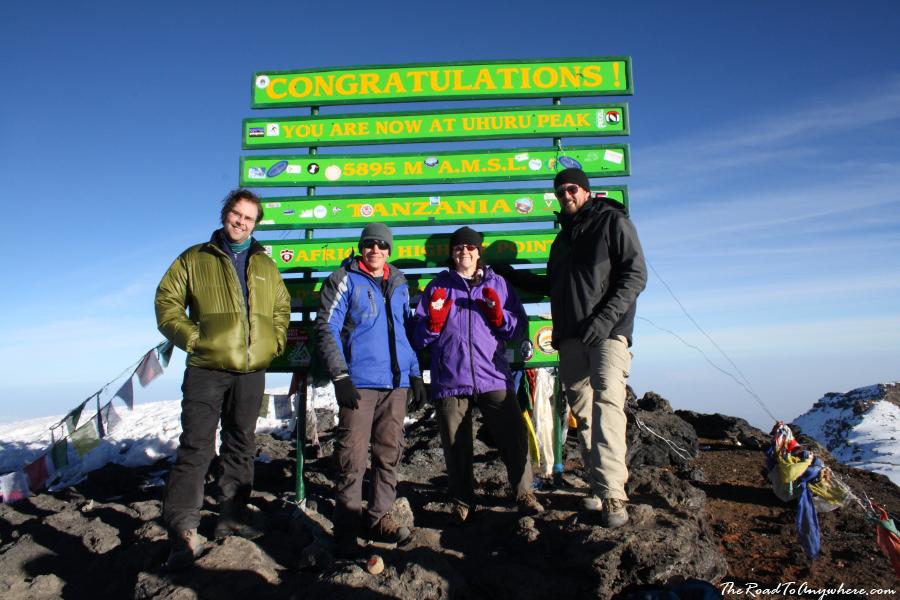 Our group at Uhuru Peak on the summit of Mount Kilimanjaro, Tanzania
