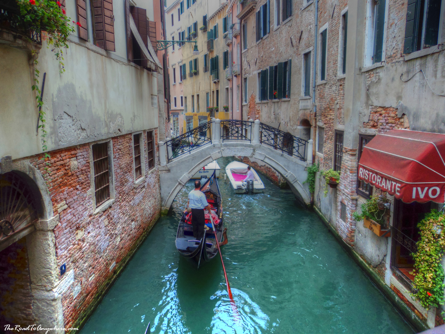 A gondola in a canal in Venice, Italy