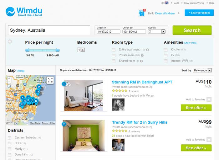 Wimdu screenshot