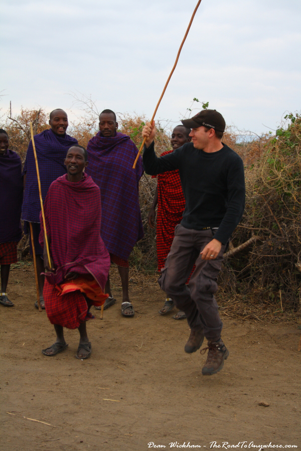 Me jumping with the Masai in a Masai Village in Tanzania