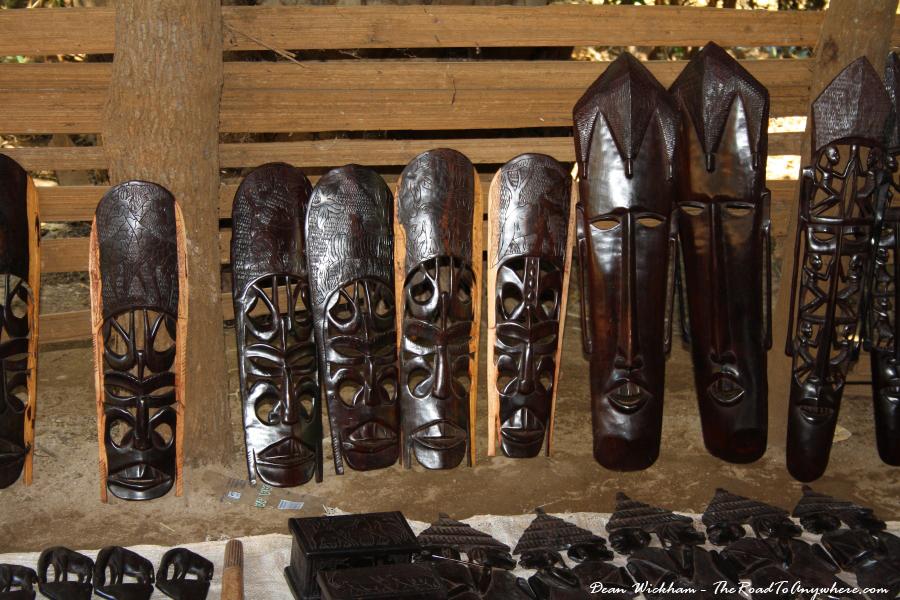 Wooden masks for sale in Mto wa Mbu, Tanzania