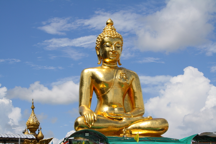 A golden Buddha statue at the Golden Triangle in Thailand