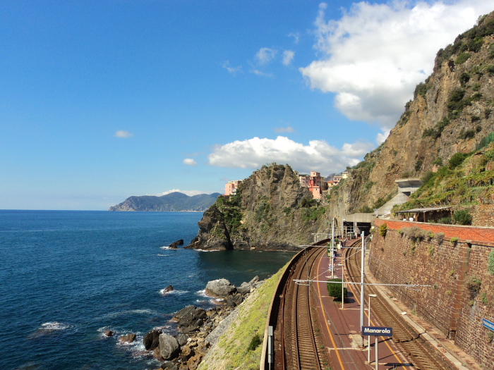Manarola train station Via Dell'Amore in Cinque Terre, Italy