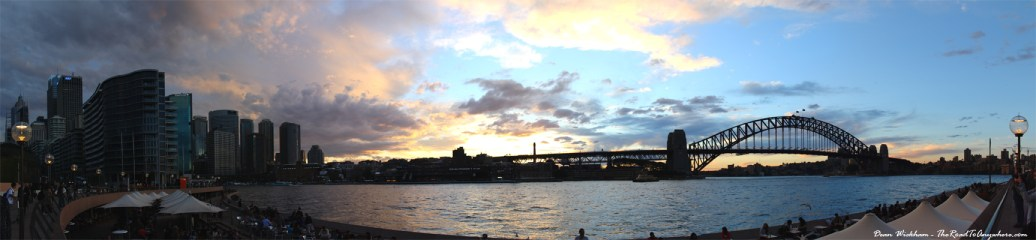 Panorama of Sydney Harbour at sunset in Sydney, Australia