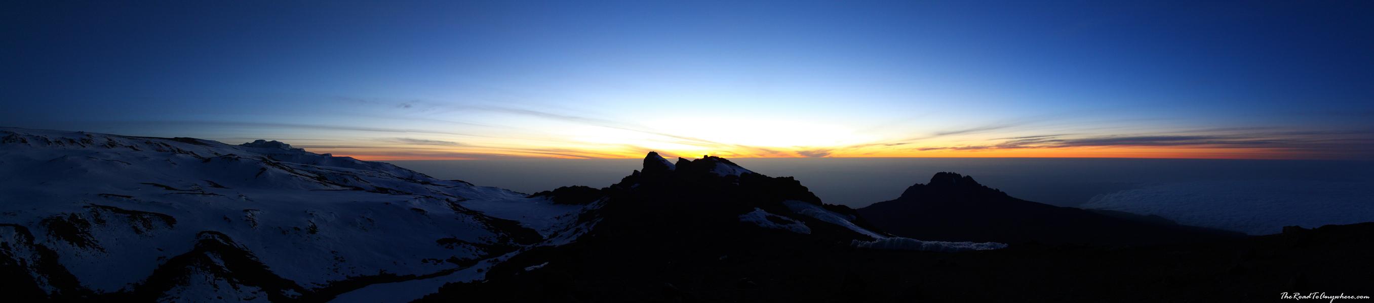 Panorama of the sunrise from the summit of Mount Kilimanjaro, Tanzania
