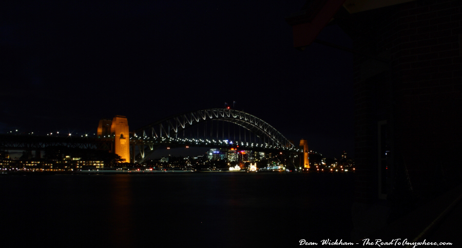 The Sydney Harbour Bridge lit up at night in Sydney, Australia