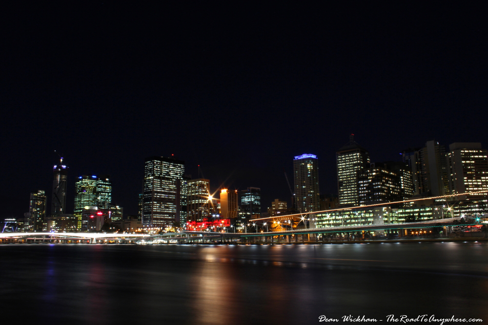View of the Brisbane CBD at night from South Bank
