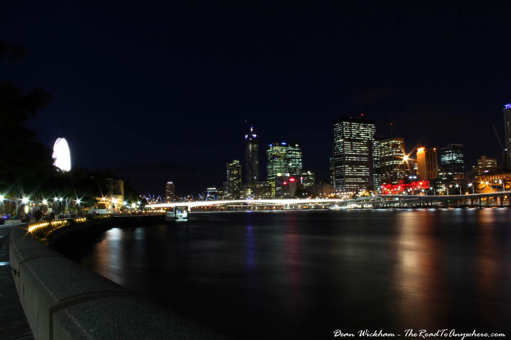 View of Brisbane City at night from South Bank