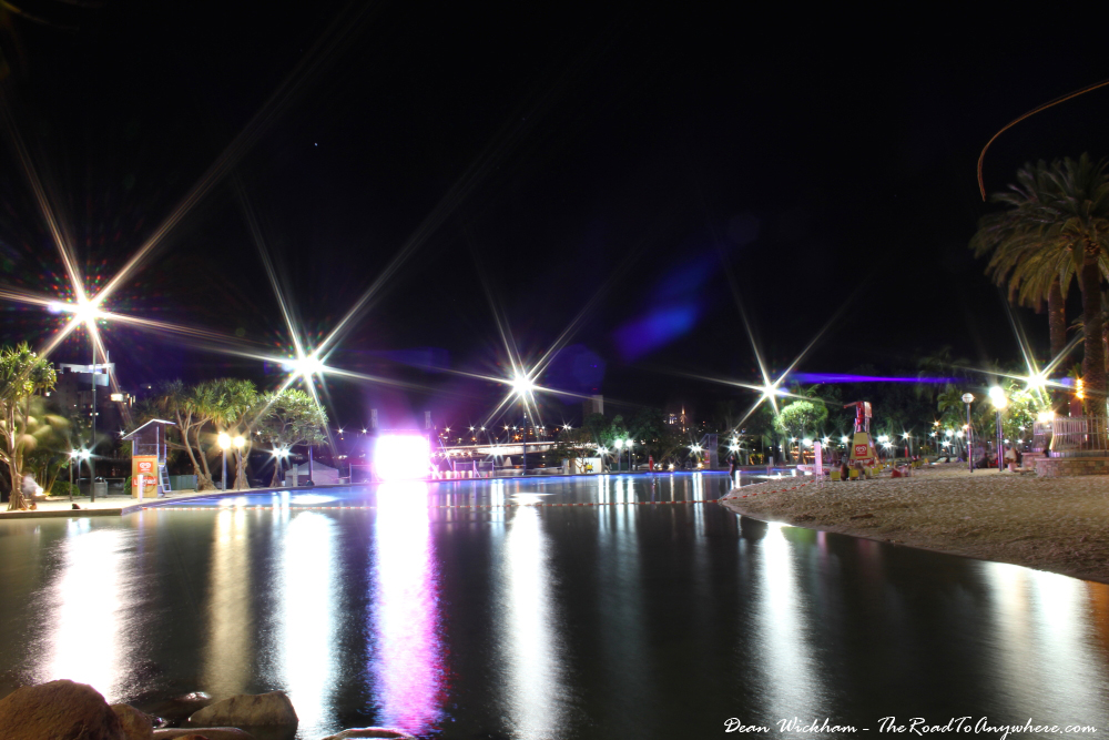Streets Beach at night in South Bank, Brisbane, Australia