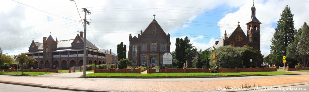 Panorama of St Joseph's School and St Patrick's Church in Glen Innes, Australia