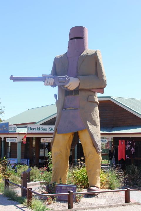 Statue of Ned Kelly in Glenrowan, Australia