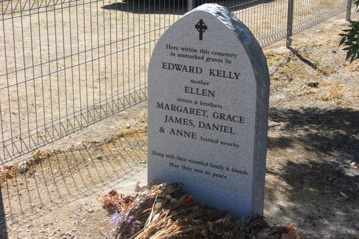 Ned Kelly and Family grave stone in Greta, Australia