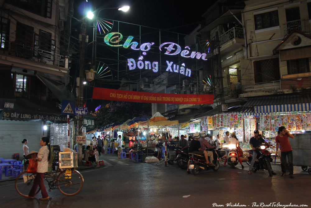 The entrance to Dong Xuan Night Market in Hanoi, Vietnam