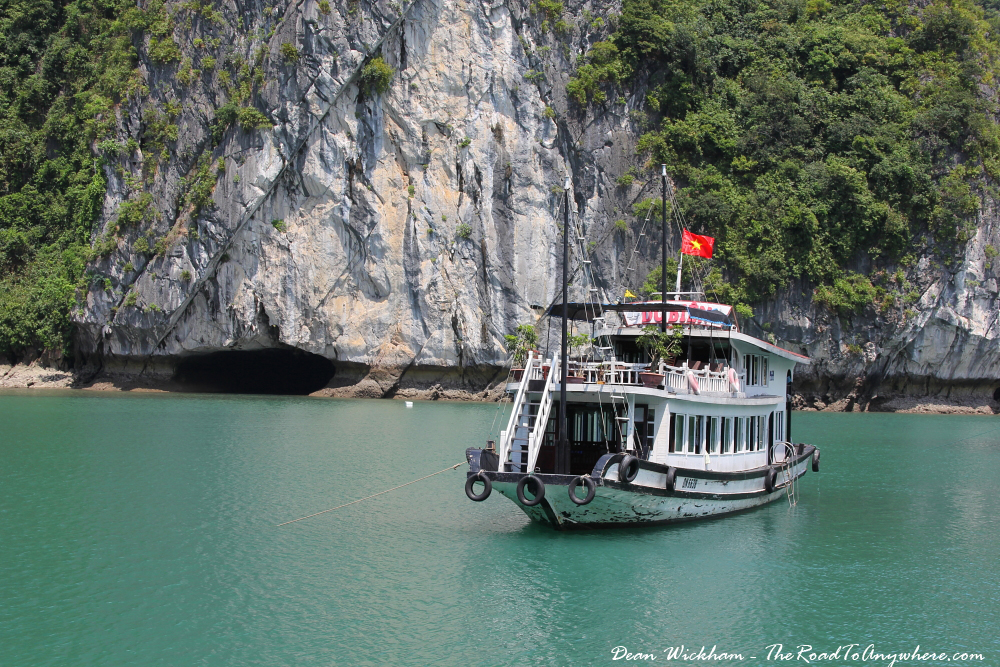 A boat at anchor in Halong Bay, Vietnam