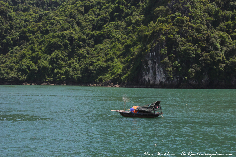 A small fishing boat in Halong Bay, Vietnam