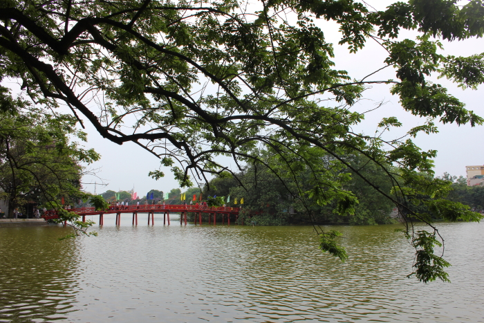 Looking towards Ngoc Son Temple at Hoan Kiem Lake in Hanoi, Vietnam