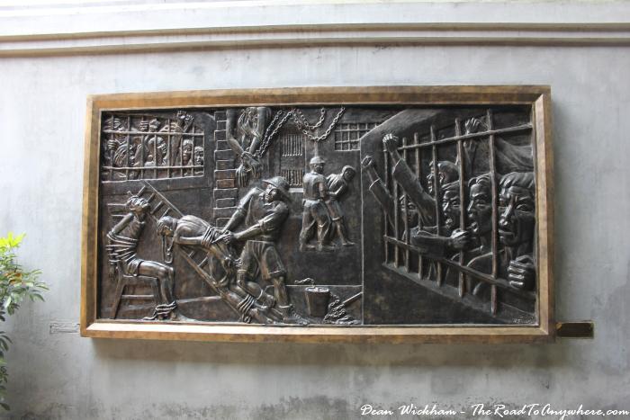 Artwork in Hoa Lo Prison in Hanoi, Vietnam