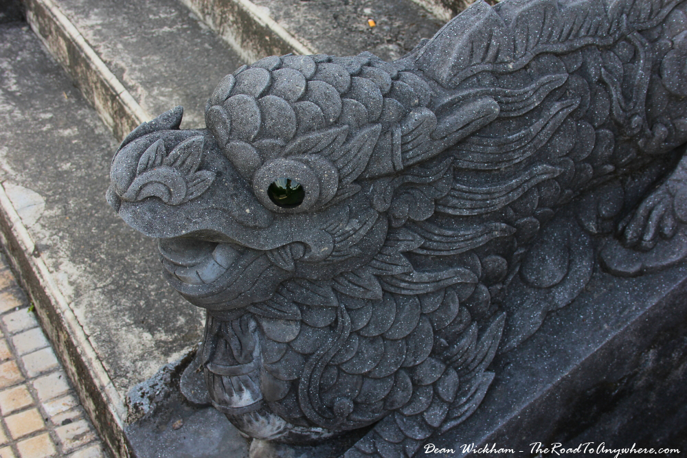 Dragon lined at Khai Dinh Tomb in Hue, Vietnam