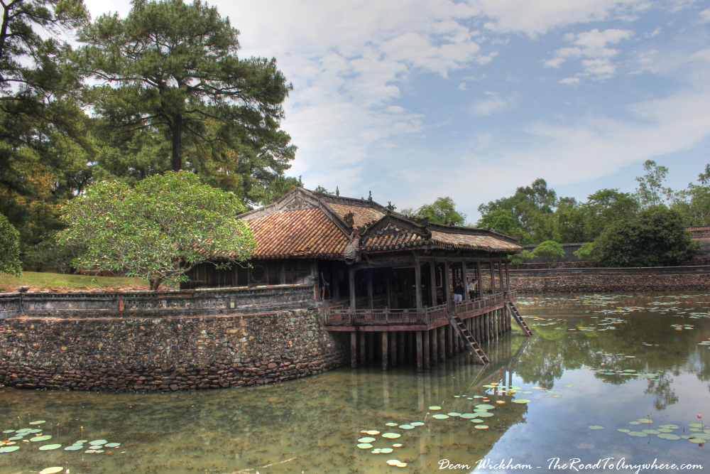 Building on a lake in Tu Doc Tomb in Hue, Vietnam