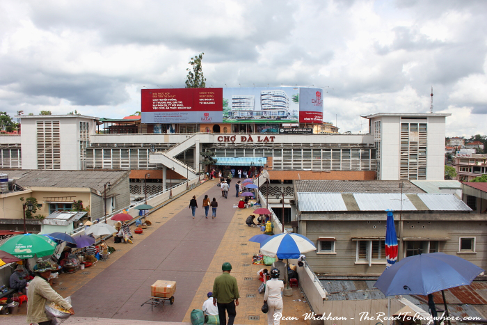 Walking to the central market in Dalat, Vietnam