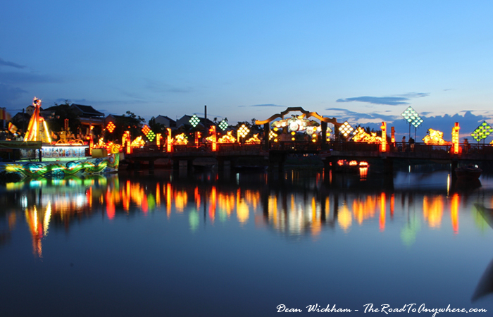 The footbridge lit up in Hoi An, Vietnam