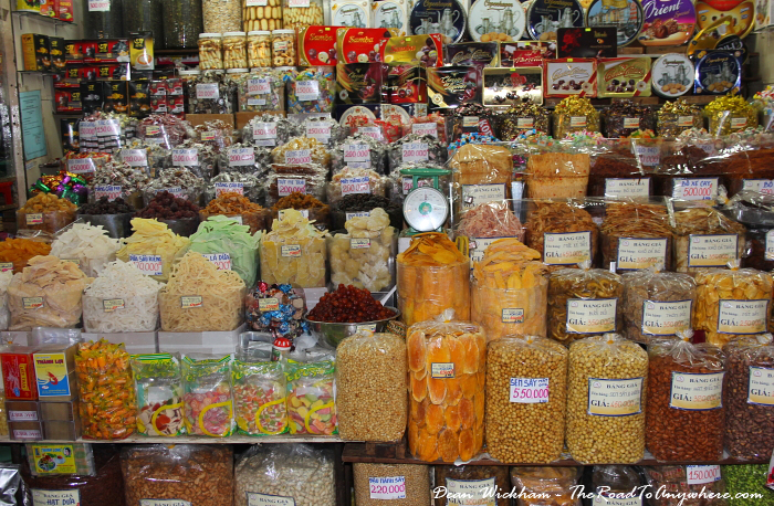 Dried snacks and lollies at Ben Thanh Market in Saigon, Vietnam