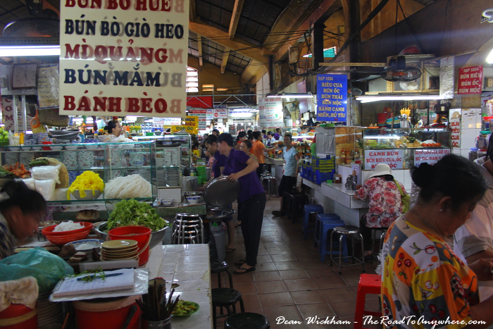 Food court at Ben Thanh Market in Saigon, Vietnam
