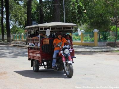 A crowded Tuk Tuk in Battambang, Cambodia
