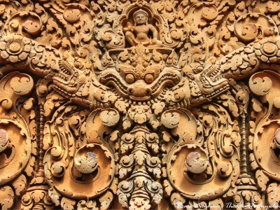Intricate carving in Banteay Srei in Angkor, Cambodia