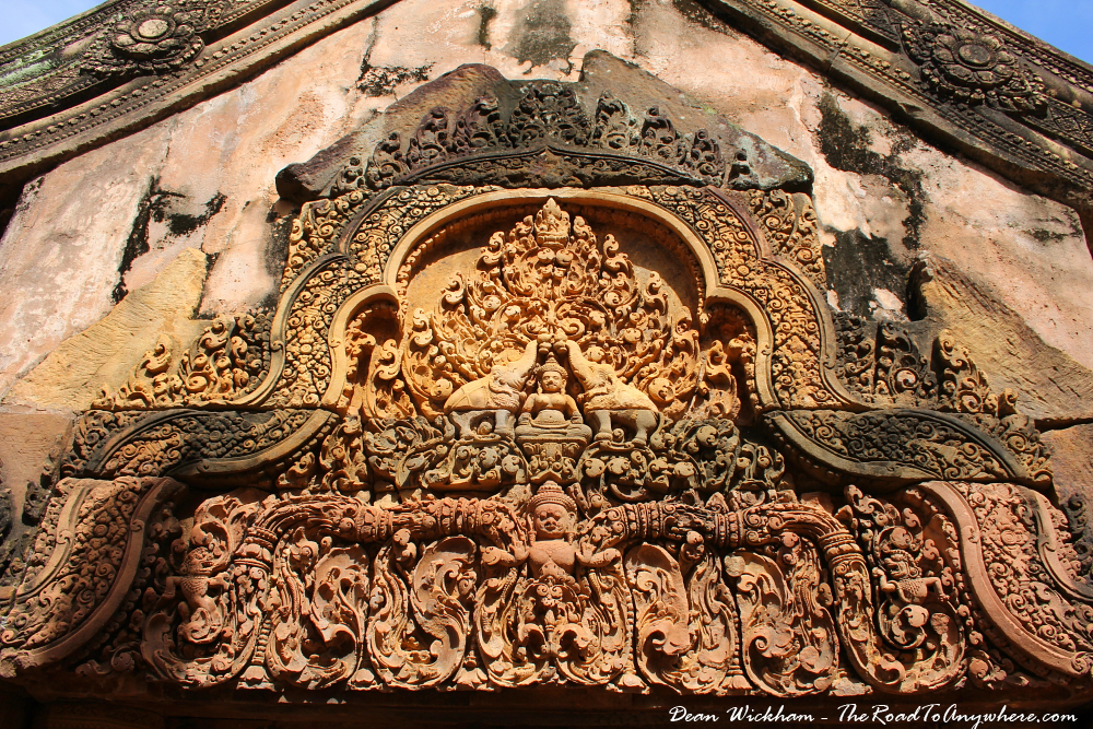 Carving above a door in Banteay Srei in Angkor, Cambodia